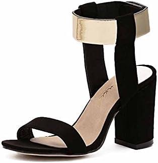 GLTER Donna Roman Sandals 2018 New Suede Tacco Tacco Tacco alto in metallo decorato con cinturino alla caviglia (Coloree   nero, Dimensione   38) B07CXP6644 Parent | Qualità Stabile  | Conosciuto per la sua bellissima qualità  | caratteristica  | Pacchetti Alla Mo 7913c4