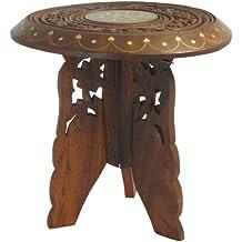 Tabla para macetas mesa de madera incrustaciones de latón heces