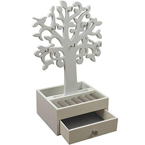 Schmuckbaum H30,5cm mit Schmuckkasten Ablagen + Schubfach Schmuckständer Schmuckhalter Kettenständer Weiß