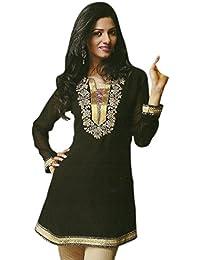 1545 Designs Tamaño extra grande de las mujeres Negro Georgette con cuello redondo bordado Top