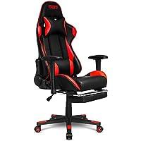 Empire Gaming – Sillón Racing 800 serieNegra/Roja - Reposapiés y forma de asiento deportivoacolchado ultra confortable - Reposabrazos 2D ajustables - cojineslumbares y de nuca.
