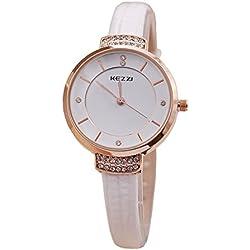Kezzi Damen Armbanduhr Elegant Strass Fassung Analog Quarz weiß / rose jw443