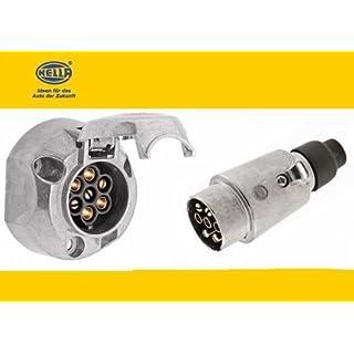 Hella-Set: Metall - Stecker u. Steckdose 7-polig für Anhängerkupplung (Dose extra spritzwassergeschützt)
