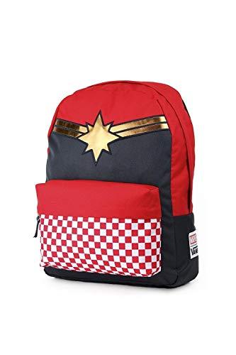 Best vans backpacks in India 2020 Vans Captain Marvel Backpack Racing Red Schoolbag VN0A3QXFIZQ Vans Marvel Bags Image 2