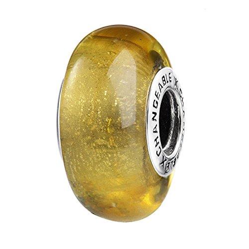 Changeable bead charm per donne ragazze individuali fascino charms argento sterling 925 sterline d'argento vetro placcato in giallo topazio respirare