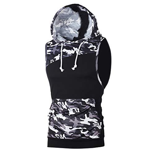 TIFIY Herren Gym Tank Tops Camouflage Patchwork Ärmellose T-Shirts Sport Lauf Tops Weste Schlank Mit Kapuze Bluse Sommer Sweatshirt(Schwarz,XL) (Zara Shirt)