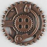 Dill® Vollmetallknopf Steampunk Zahnrad, 30mm - Kupfer