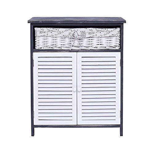 Rebecca mobili credenza armadietto 2 ante 1 cassetto legno paulownia vimini bianco grigio country vintage cucina lavanderia bagno (cod. re4025)