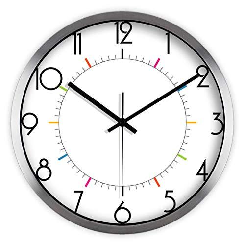 WMY @wanduhr Wanduhr Nicht tickenden römischen Sweep Bewegung dekorative für Küche Wohnzimmer Badezimmer Schlafzimmer Büro Quarz Metall Wall Clock (Farbe : 12inch, größe : A)