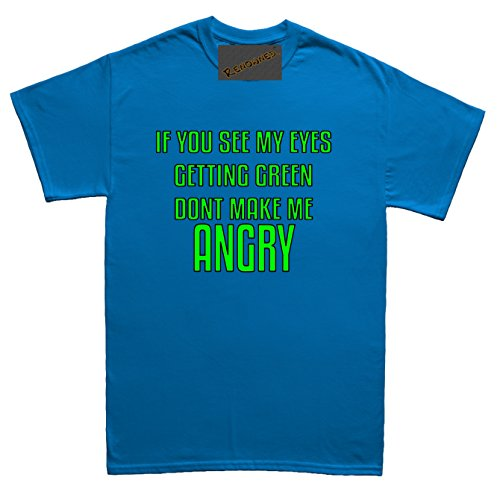 Renowned If you see my eyes getting green don't make me angry Unisex - Kinder T Shirt Blau