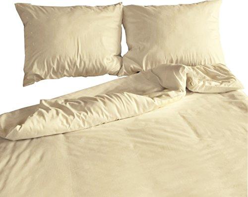 Carpe Sonno Kühles Mako-Satin Bettwäsche Set in exklusiver Hotelqualität 135 x 200 cm Creme aus 100% Baumwolle für besten Schlafkomfort - Hotel Bettzeug mit Kopfkissen-Bezug