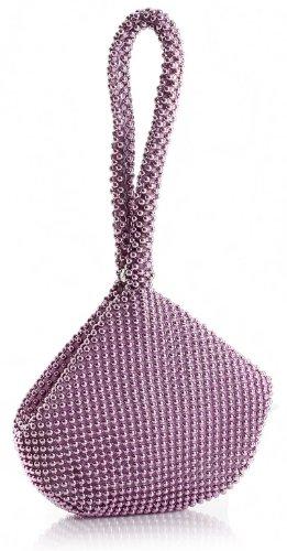 BHBS weiche, kleine perlenschnurförmige Damenclutch Hell Pink