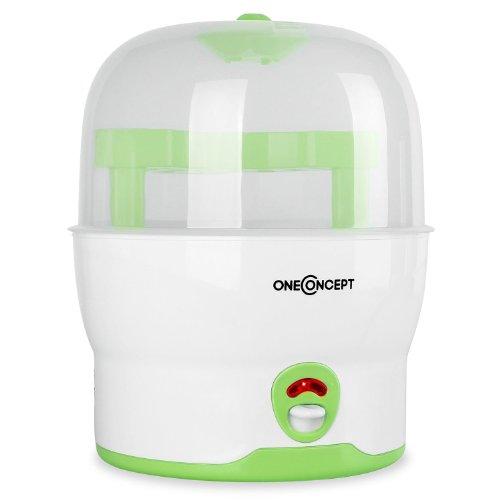 oneConcept Mom&Me Prince Vaporisator Wasserdampf-Desinfektionsgerät Auskocher für Babyflaschen (Serilisator für 6 Flaschen, ohne Chemikalien, 500 Watt) grün