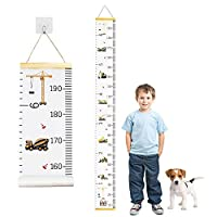 6.5 ft Kids Growth Height Chart with Hanging Hook, Removable Canvas Growth Chart for Children (200 cm x 20 cm)