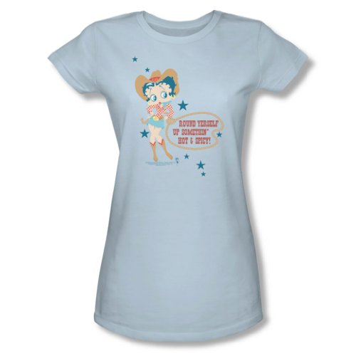 Cowgirl Damen Light T-shirt (Betty Boop - Heiß und würzig Cowgirl - Jrs Light Blue Cap Slv Sheer für Frauen, X-Large, Light Blue)