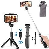 PEYOU Perche Selfie Trépied avec Télécommande Rechargeable Compatible pour iPhone,Samsung,Huawei,3.5-6.5''Android Smartphone,360 ° Selfie Stick Monopode 3 en 1 Aluminium de Amovible Bluetooth