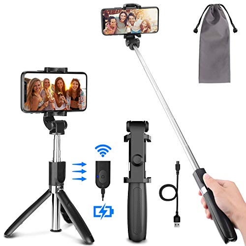 PEYOU Pal Selfie Trípode per a Mòbil, [ Recargable ] Palo Selfie con Control Remoto Bluetooth, Mini Selfie Stick Compatible para iPhone XS MAX XR 8 Més, Compatible para Samsung Huawei Xiaomi