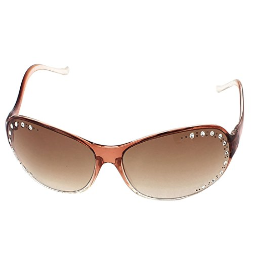 Bling-bling-felgen (sourcingmap® Dame Bling Strass Dekoration dünne Rim Sonnenbrillen Brillen braun Vollrand)