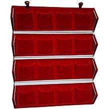 Neysa Aglare Red Velvet Folding 16 Earrings Organizer Box (Red)