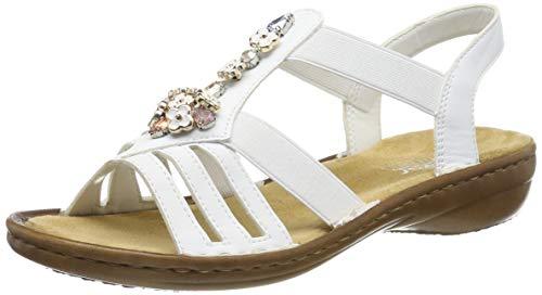 Rieker Damen 60855-80 Geschlossene Sandalen, Weiß (Weiß 80), 39 EU