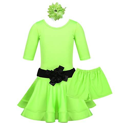 Tanz Rumba Kostüm - Freebily Kinder Mädchen Tanzkleid Latein Kleider Latin Rumba Samba Tanz Kostüm Dancewear Outfit mit Unterhose Haarklammer Gürtel Performance Kleidung Set Fluorescent Green 152-164/12-14Jahre
