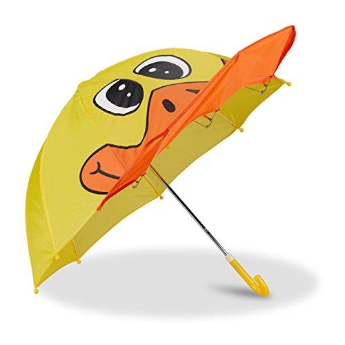 Relaxdays Kinderregenschirm mit 3D Ente, Regenschirm für Mädchen und Jungen, kleiner Stockschirm ab 3 Jahren, gelb -