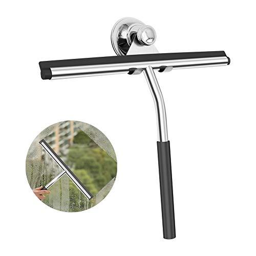 SKERITO Duschabzieher, Verbesserte Edelstahl Badezimmer Spiegel Fliesen Auto Glas Fenster Reinigung Wiper, mit Saugnapf Haken (grau)