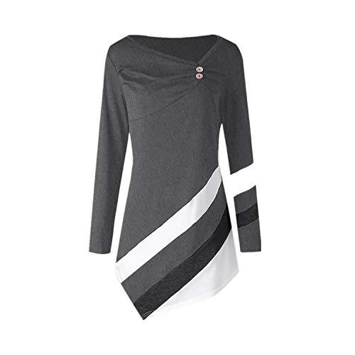 Langarmshirt Damen Bluse FGHYH Frauen-Herbst-Winter-gestreifte asymmetrische Tunika-Oberseiten Plus Größen-Blusen-T-Shirts(M, Grau) -