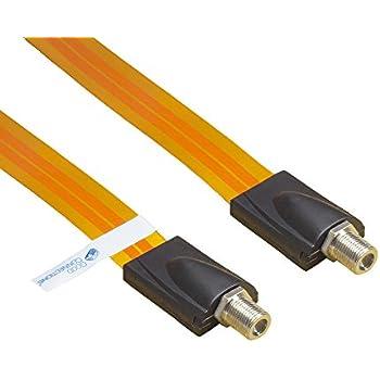Good Connections® SAT Tür-/Fensterdurchführung - High-Quality, extrem flach - F-Kupplung an F-Kupplung - Gesamtlänge inkl. Stecker 26,5 cm, flexible Länge 17,5 cm