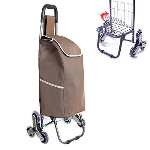 SVNA Einkaufstrolley Einkaufsroller Einkaufswagen-Transportwagen-Einkaufslebensmittelgeschäft-Faltbare Warenkorb-Speicher-Mamma,Brown -