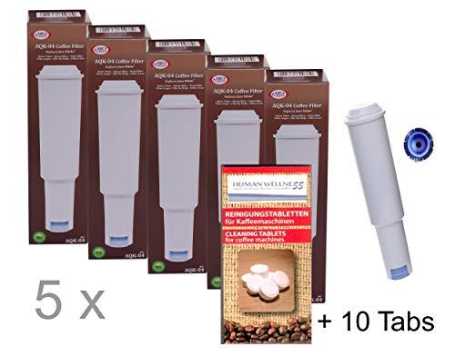 Human-Wellness 5 x Filterpatronen für Jura Impressa White steckbar + 10 Reinigungstabs