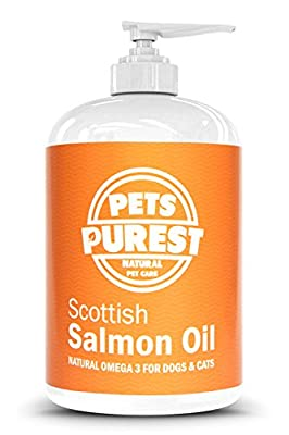Pets Purest 100% Natural Premium Food Grade Pure Scottish Salmon Oil. Omega 3 Supplement for Dogs, Cats, Horses & Pets. Promotes Coat, Joint and Brain Health