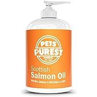 Pets Purest - 500ml - Aceite de salmón escocés puro Premium Food 100% Natural. Suplemento Omega 3, 6 y 9 para perros, gatos, caballos, hurones y mascotas. Promueve la salud del piel, las articulaciones y el cerebro