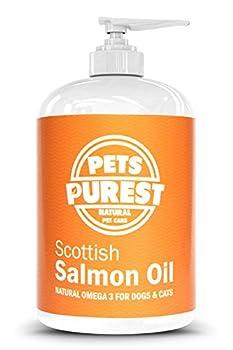 Pets Purest - 500ml - 100% Naturel Premium Qualité Alimentaire Pure écossais Saumon Huile Omega 3 supplément pour chiens, Chats, Chevaux & animaux de compagnie. Favorise la Manteau, Joint et Brain santé