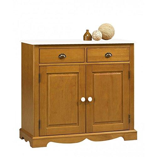 Beaux Meubles Pas Chers Schönen Möbel Nicht Liebe-Kommode Buffet Kiefer Honig 2Türen Oberseite weiß -