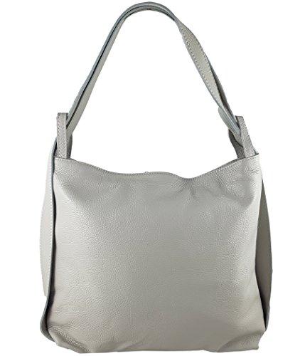 Freyday 2in1 Damen Handtasche Rucksack Designer Luxus Henkeltasche aus 100% Echtleder (Hellgrau)