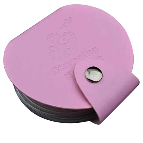 Kolylong® Organisateur Sac De Stamp Stamping Nail Art DIY Holder ModèLe Image Plate Case (Rose)