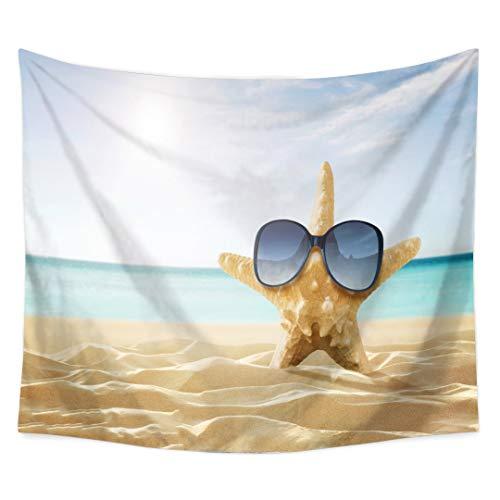 Kühle Starfishabnutzung Sonnenbrille Baden im Sonnenschein auf dem Sand-Nvay-Ozean-Bild-Tapisserie-Wand-hängenden Hauptdekoration Iving-Raum-Schlafzimmer-Schlafsaal