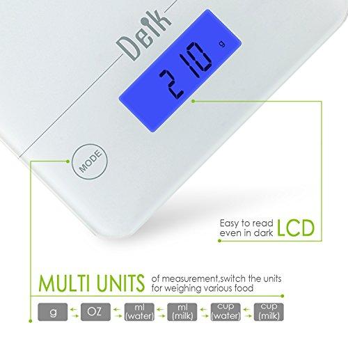 Báscula digital de cocina Deik KDS01 realizada en vídrio templado blanco hasta 5 kg / 11 libras