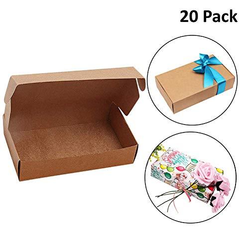 Scatole regalo di kraft marrone (confezione da 20) - scatola regalo bomboniera (19 x 11 x 4,5 cm) scatole kraft piatte presentazione adatte pacchi, feste, matrimonio, biscotti, dolcetti, gioielli