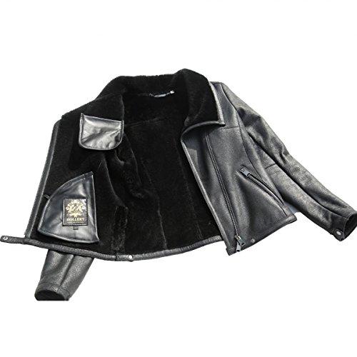 Lammfelljacke - POLA Damen Jacke Lederjacke Winterjacke Bikerjacke Merino Felljacke schwarz Size S - 4