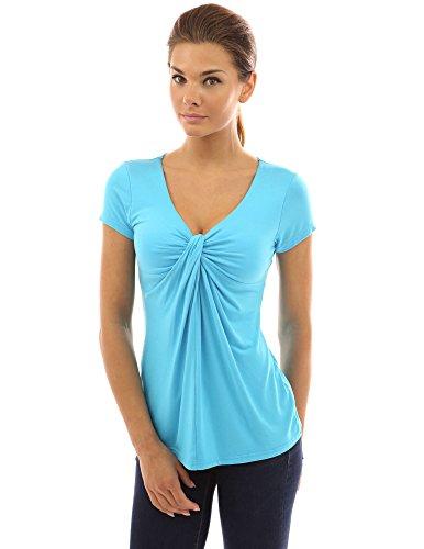 PattyBoutik femmes blouse à col V avec manches courtes froncé aux devant Turquoise