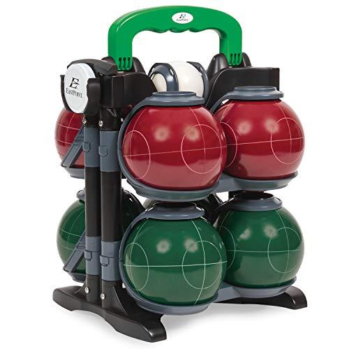 EastPoint Sports Boccce-Bälle-Set aus Harz, inkl. 8 Boccce-Bälle in 2 Teamfarben, 1 Palino und 1 Maßband, rot, 9.8 x 8 x 13 inches