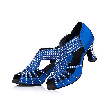 in Satin Ferse Indoor Strass Cuban Heel Gelb Blau 3