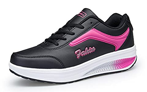 KUAIKUHEI Femme Baskets de Running Anti-choc Fitness Gym Sport Chaussures Casual Marcher Respirantes Compensées,XZ8372-blackrose-EU38