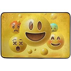 jstel amarillo cara sonriente emoticonos Emoji lavable Felpudo para interiores/al aire libre jardín oficina Felpudo, cocina comedor pasillo baño Pet alfombra de entrada con base antideslizante. 23,6x 15,7pulgadas