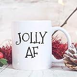 Jolly AF Tasse à café de Noël humoristique Tasse de Noël Cadeau de collègue de travail Cadeau d'hôtesse Cadeau de moins de 11 ans
