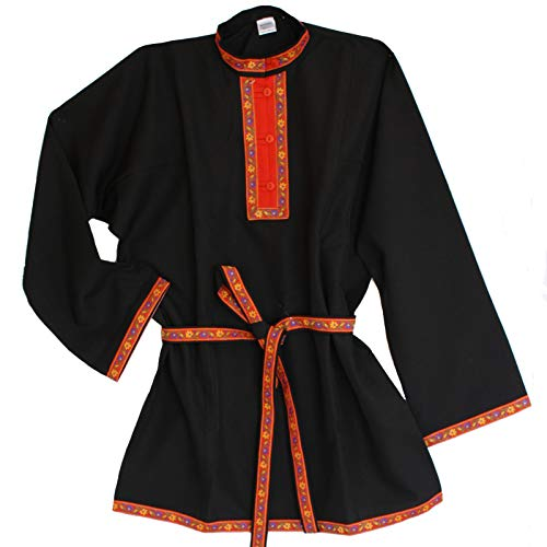 Shirt Kostüm Russisch - Russisches Hemd Kosakenhemd Gabardine schwarz Größe XL