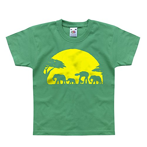 Nutees Unforgettable Walk Under African Sunset Elephant Funny Unisex Kids T Shirts - Irish Green 12/13 Years