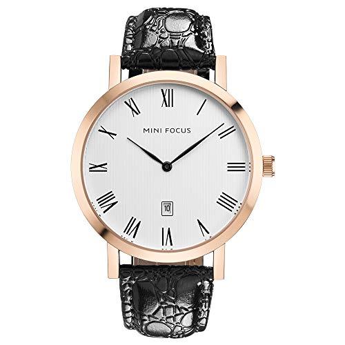 QRMH Männer-Uhr Faux Leder Uhren Business Casual japanischen Bewegungs Kalender Wasserdichte Armbanduhr Rose Gold und Silberne minimalistische Uhr Roman Numeral Dial,RoseGOldB